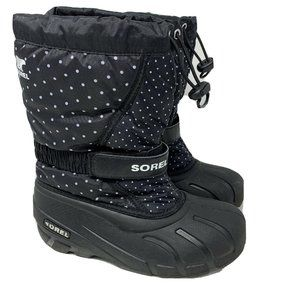 Sorel Girl's Youth Flurry Print Black Snow Boots Size 4 Style 1888091-010